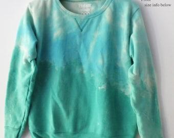 Green Sweatshirt, Women's sweatshirt, MEDIUM Crewneck sweatshirt, Blue, grunge, tie dye, acid wash, graphic, dip dye, Shop Small, gift
