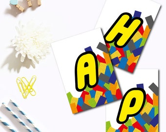 "Lego themed ""happy birthday"" Banner"