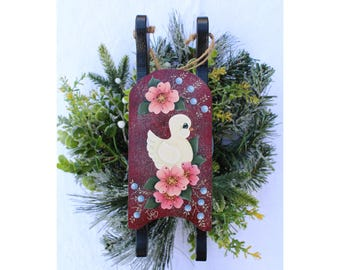 Sled Ornament - Sled Sign - Painted Sled Sign - Painted Sled Ornament - Christmas Ornament - Floral Wooden Sled - Painted Bird Wooden Sled