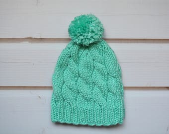 Handknit Baby 3-6 Months Mint Cable Beanie with Pom Pom