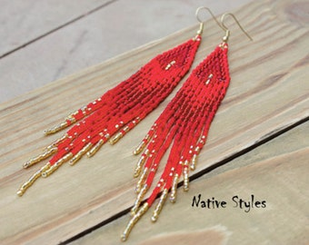 "5.5""Red Seed Bead Earrings~Long Bohemian Beaded~Red Christmas~Red Native American Style~Red Gold Boho~Red Glam~Deep Red Festive~Native Bead"