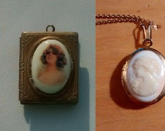 Two gold-plated cameo lockets - choose one