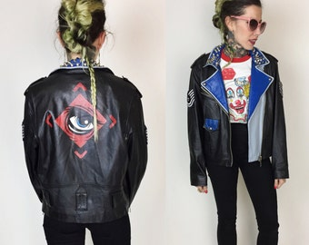 Leather Motorcycle Painted Jacket Small Medium - Black Red Blue Spiked Back Patch Eyeball - 1,000 Mods Eye Fighter Jet Patch Leather Jacket