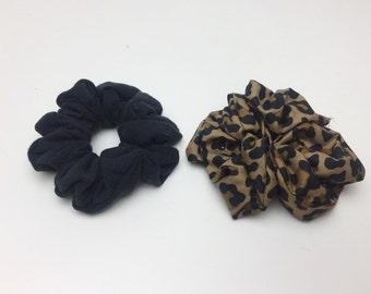Hair Scrunchies 2 Handmade 90's Inspired Hair Scrunchie Pack Leopard & Basic Black Hair Ties - Funky Hair Accessory Two Giant Scrunchies