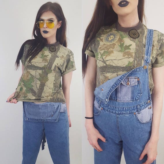 80's Vintage Camo Tshirt Large with Sun Patches - 1980s Remade Women's Camouflage Grunge Top - Upcycled Patched Camo Comfy Crop Tee Shirt