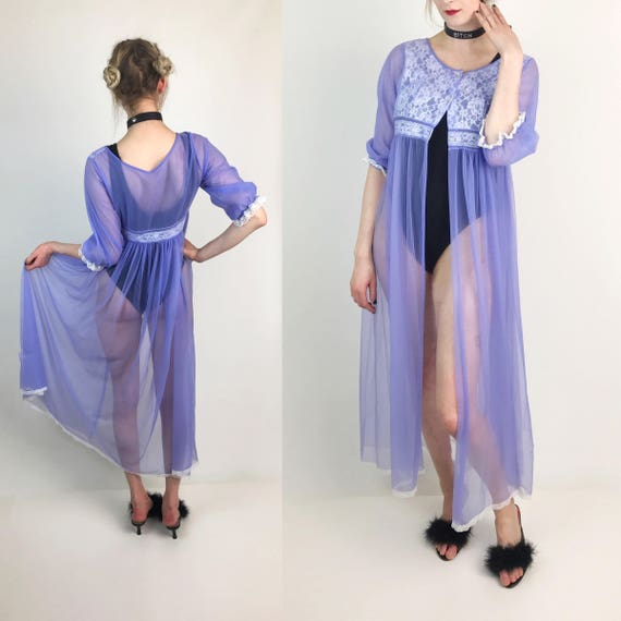 Vintage Lilac Pastel Purple Sheer Sexy Open Layer - 1990's See Through Long Mesh Layer - Slip Dress Cover Up Sheer VTG Lingerie Size Medium