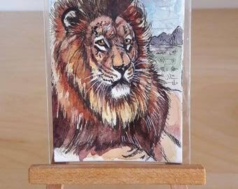 ACEO ORIGINAL - Old Lion