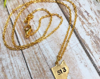 "Ohio-Ohio Necklace-Stamped-Stamped Necklace-Gold-Gold Necklace-18"" Necklace-Dainty Chain-513-Cincinnati-Cinci-Ohio Gift- Cincinnati Necklace"