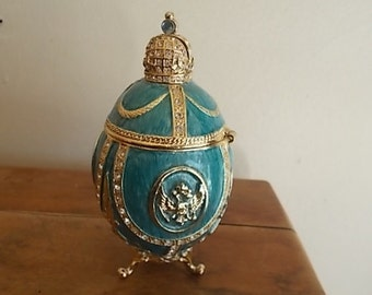 """AKM~Faberge Russian Egg~Blue Enamel~Coat of Arms~jewelry box~trinket box~3 7/8""""~Made in Russia~Beautiful Gift~original paper and box"""