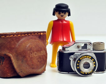 Vintage 1950s Spy Camera 'Homer' made in Japan/ working spy camera/ with Leather case/ Subminiature photography