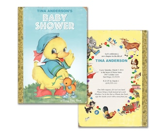 Printable invitation for book themed baby shower / storybook baby shower / gender neutral / editable PDF / add your own text / duck