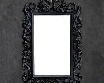 Ornate Black Mirror - Vintage Syroco - Floral Rose Acanthus Leaf - Rectangular - Hollywood Regency - Rococo - Baroque Mirror