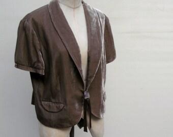 Vintage Taupe Velvet Jacket