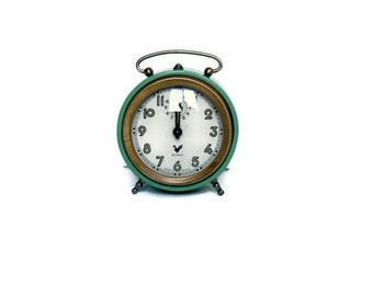 "Sage green French alarm clock reveil ""Blangy""-- home decor from France"
