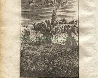 """1719 Manesson Mallet """"Hecla en Islande"""" Iceland, Hekla Volcano Erupting, Whaling Ships, Antique Print"""
