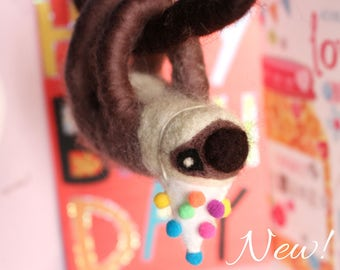 Needle-felted Sloth with Birthday Party Hat