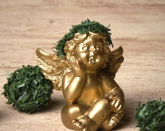 Cute Golden Miniature Cherub for Your Dollhouse