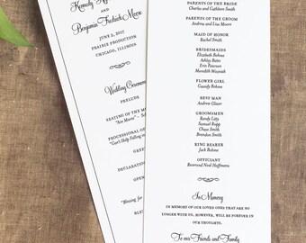 Wedding Ceremony Program, Simple Wedding Programs, Order of Service, Panel Style Wedding Ceremony Program, Formal Wedding