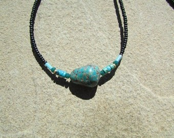 Turquoise Necklace 17.5 Inch - Natural Turquoise Nugget Stone Pendant - Genuine Turquoise Stone Necklace