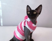 Holiday Special Sphynx cat clothes One Inch Big Stripe Tank or Hoodie in Rose Quartz (Pink) and White & others.  Price Break. Ships January