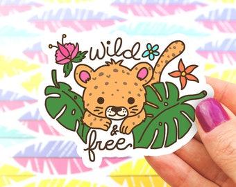 Jungle Cat Vinyl Sticker, Tropical Decal, Yeti Sticker, Phone, Monstera Leaf, Wild and Free, Botanical, Baby Animal, Cheetah, Jaguar, Gift