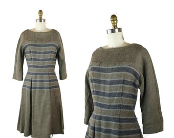 1950s Wool Tweed Striped Dress / 50s Vintage Long Sleeve Midi Dress / L'Aiglon Wool Winter Dress