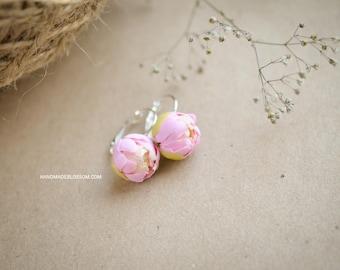 Pink peony earrings, Peonies floral earrings, Clay flower jewelry, Sterling silver earrings, Fimo flower earrings, Ready