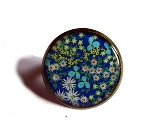 FLOWERS RING - Blue flower ring - Flower ring - Blue ring - liberty - Garden, spring - summer - Girlfriend gift - Teen gift - Nature - Hippy