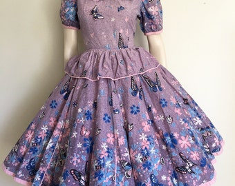 GORGEOUS Unique Novelty Print Pink 50s 60s Butterfly Cotton Party Dress / Full Skirt / Small / Peplum / Rockabilly