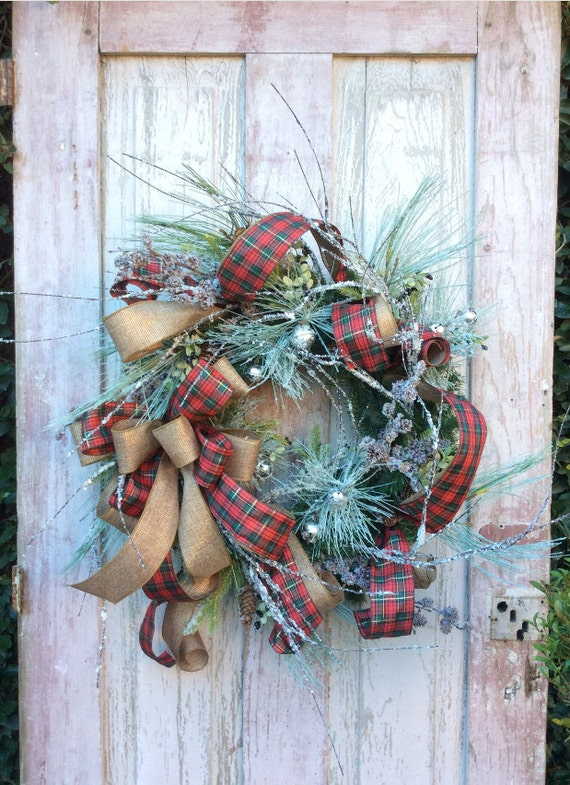Christmas Wreath with snow,Natural Christmas Wreath,Classic Christmas Wreath,Christmas Front Door ,Burlap Christmas,Rustic Christmas Wreath