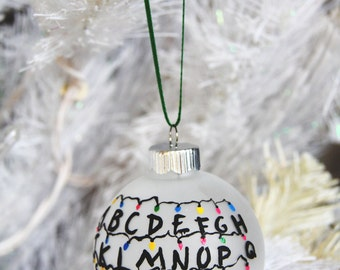 """Stranger Things Ornament 2.625"""" //  Hand Painted Glass // Christmas Lights Wall // Tree Ornament"""