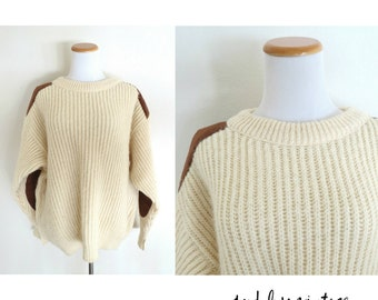 SALE Elbow Patch Sweater Iceland Fisherman Pullover Jumper Cream Mens Vintage 1970s 70s Wool Warm Winter Wear Size Medium Large