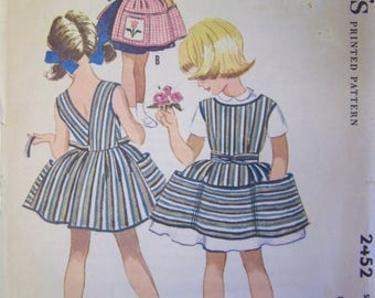 Vintage 1960s McCall's 2452 Girls' Wrap-Around Cobbler and Half APRONS Pattern Size 6 UNcut