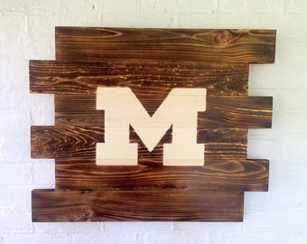 University of Michigan Wolverines wood sign- Man Cave Sign