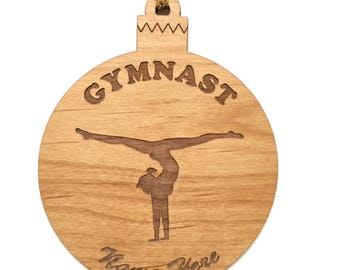 Personalized Wood Gymnastics Ornament Handstand