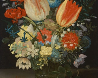"Peter Binoit : ""Still Life with Tulips"" (1623) - Giclee Fine Art Print"
