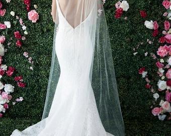 CARINE ~ shown in FLOOR Length ~ bridal veil blusher bride headpiece long medium white ivory blush off white simple headwear veils brides