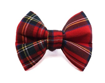 Royal Stewart Holiday Tartan Bow Tie - Dog or Cat Collar Attachment | 5 Sizes Available
