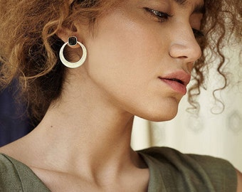 Contemporary Enamel Silver Earrings