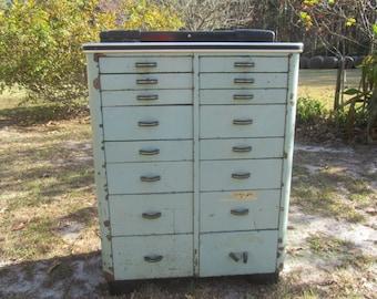 DENTAL CABINET, Medical Cabinet, Vintage Cabinet, Metal Multi Drawer Cabinet, Rolling Cabinet, Aqua Cabinet, Art Deco Cabinet