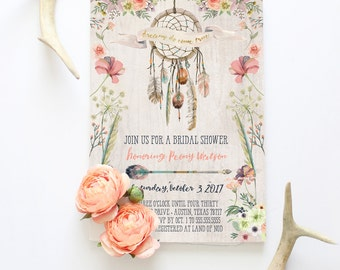 Dreamcatcher Bridal Shower Invitation - Rustic Boho Wedding Shower Invites - Dreams Do Come True - Printed or Printable Invitations