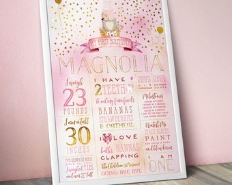 Pink & Gold Birthday Party Stats Poster - Custom One Year Old Facts Sign - Birthday Decor for Girl - Boho Floral Watercolor Milestone Poster