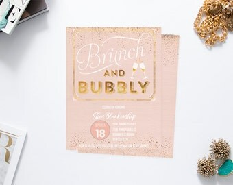 Brunch and Bubbly Rose Gold Invitations - Gold and Pink Bridal Shower Invites - Wedding Shower - Printable Instant Download