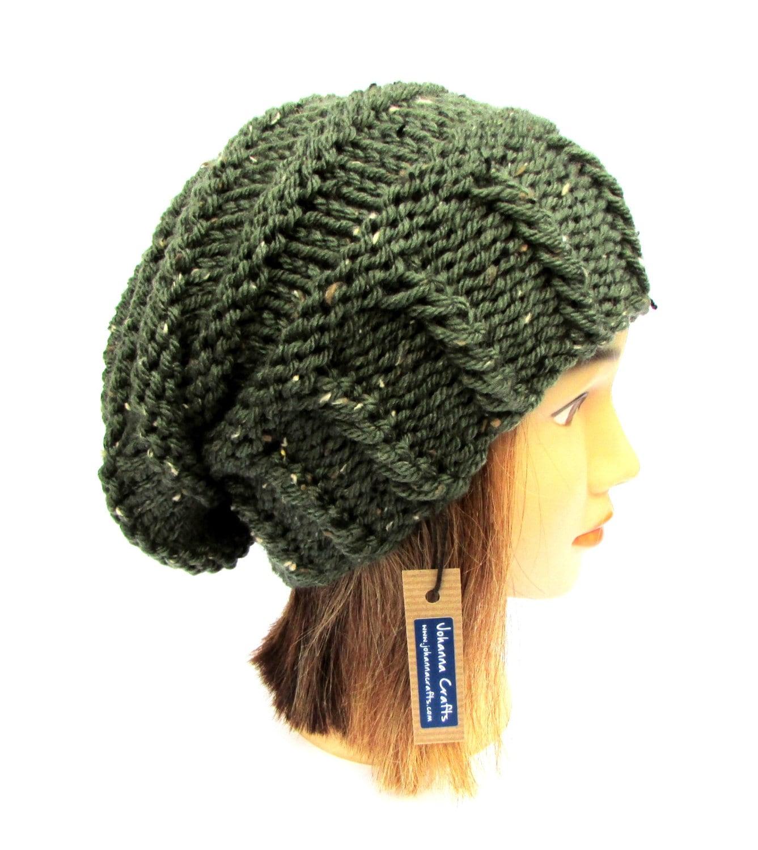 Irish Beret Knitting Pattern : Knitted army green tweed slouchy beanie hat women irish hat