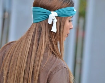 Teal Blue Yoga Headband, Fitness Headband, Jersey Turbans, Twist Hair Band, Boho, Twist Head Wrap, Knot Headbands, Hair Accessories, Gifts