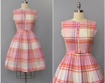 1960's pink and orange plaid sun dress •  medium