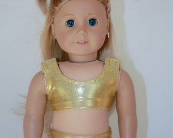 """American Girl 18"""" Doll - Cheerleader Sports Bra and Shorts - Gold Mystique and Navy Outfit"""