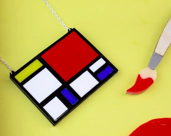 Mondrian Acrylic Laser Cut Art Necklace Pop Art Statement Necklace Gift for Her 1950s Laser Engraved Perspex Acrylic