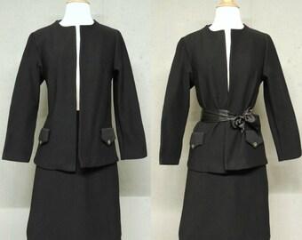 Vintage 70s Suit / Cintura Jet Black Ribbed Poly Knit Blazer Pencil Skirt Set