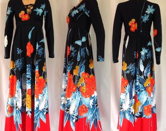 "1970's Tori Richard Honolulu for Liberty House Maxi Dress 27"" W"